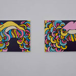 Candy Pop・Curly Pop acrylic, enamel canvas each 45.5 × 65.2 cm (set of 2)