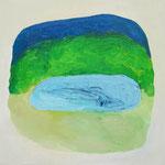 夜の池  oil on canvas 33.4 × 33.4 cm