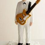 Guitarist  plaster, acrylic h. 29.0 × w. 18.0 × d. 18.0 cm