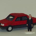 Nissan Sunny  plaster, acrylic h. 9.5 × w. 11.0 × d. 26.0 cm 人 h. 9.5 cm