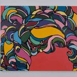 Romantic curly hair Ⅸ acrylic, enamel canvas 60.6 × 72.7 cm