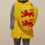 Knight (Yellow)  plaster, acrylic h. 22.5 × w. 14.0 × d. 12.5 cm
