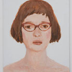 Woman with glasses  acrylic on canvas 45.5 × 37.9 cm