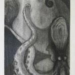 蛸少女  charcoal, conte on paper 29.7 × 21.0 cm