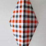 ダイアモンドチェック:オレンジ/グレー  アクリル、寒冷紗、MDFボード h. 30.5×w. 12.0×d. 6.0 cm