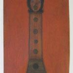 リコーダー  charcoal, conte, pastel, collage on paper 29.7 × 21.0 cm