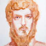 ルキウス・ウェルス:Lucius Verus(Roman portrait series) 2014 41.0×31.8cm acrylic on canvas
