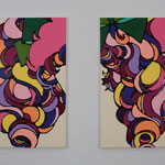 Maggi's pigtails acrylic, enamel canvas each 72.7 × 50.0 cm (set of 2)