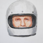 Helmet  acrylic on canvas 40.9 × 31.8 cm