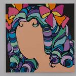 Dreamy girl France acrylic, enamel canvas 60.6 × 60.6 cm