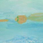 泳ぐ  oil on canvas 65.5 × 100.5 cm