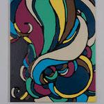 Romantic curly hair Ⅹ acrylic, enamel canvas 45.5 × 37.9 cm