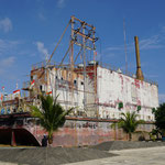 Banda Aceh, power supply ship which stranded around 4-5km from the coast after the tsunami in 2004