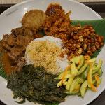Nasi Padang, Reis mit Gemüse, Curry und Fleisch