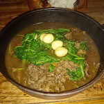 Water spinach with Ham and quail eggs, Sunda style