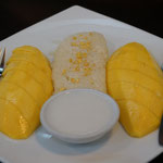 Mango with sticky rice and coconut cream