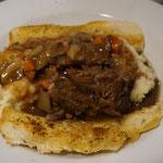 Pulled Pork mit Kartoffelpüree und Brot, Denny´s