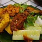 Ayam penyet, deep fried chicken with vegetables