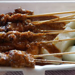 Chicken satay with Lontong (rice paste)