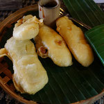 Backed banana with red sugar, Bali