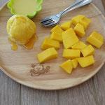 Manggo Platte mit Pudding, Manggo und Eis