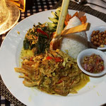 Rice plate with chicken curry, Bali