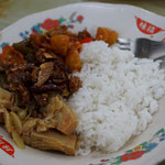 Nasi campur, rice with vegetables
