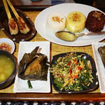 Rice plate with different rice types and dishes, Bali