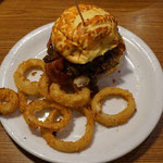 Burger with onion rings