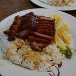 Reis mit Schweinefleisch in BBQ Marinade, sehr beliebt