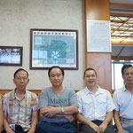 Welcoming at the office of the parish house, on the left and right side my grand uncles