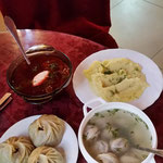 Mongolian and Russian specialities (Borscht; beetroot, Pelmeni, Pozi, Mashed potatos)