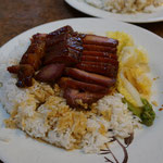 Typical local Hong Kong meal, rice with BBQ pork, very famous