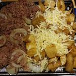 Rindfleisch mit Tapioka und Käse