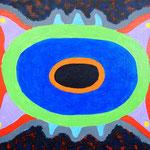 宇宙の生物 #2 アクリル、ブレンデッドファイバー、キャンバス 242×333mm