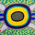 宇宙の生物 アクリル、ブレンデッドファイバー、キャンバス 242×333mm