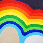 虹の石 アクリル、ブレンデッドファイバー、キャンバス 158×227mm
