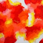 赤い楽園 アクリル、キャンバス 242×333mm