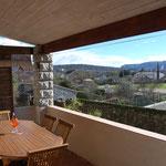 Terrasse avec table + 8 chaises en teck