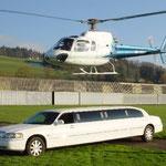 Limousine und Hubschrauber