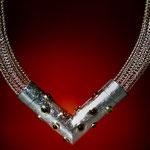 Collier / handgestrickte Silberkette mit Verschluss / 925 Silber / 900 Gold / Turmaline