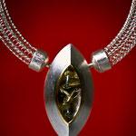 Collier / handgestrickte Silberkette mit Verschluss / 925 Silber / 900 Gold / Rutilquarz