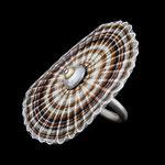 Ring / 925 Silber / 750 Gold / Rosshaar natur