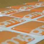3D Etiketten auf weißer Folie