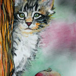 Vegan Kitten, Aquarell-Sift/Aquarell, 46 x 38, 2016
