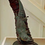 Bronzestatue der ausgestorbenen Phelsuma gigas auf der Ile aux Aigrettes