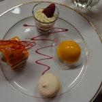 glace mangue, macaron, tiramissu framboise