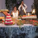 présentation de dessert pour mariage avec fumée