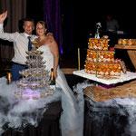 présentation de dessert pour mariage avec neige carbonique