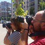 Manel y Ana practicas diurnas del curso básico de Fotografia Digital en Tarragona. Foto: Andreu Gual